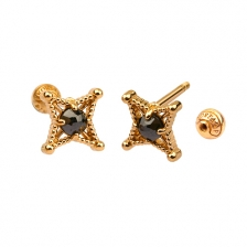KPE 4665 Diamond Gold Earring Piercing