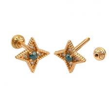 KPE 4678 Diamond Gold Earring Piercing