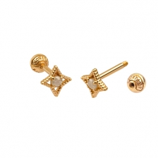 KPE 4679 Diamond Gold Earring Piercing